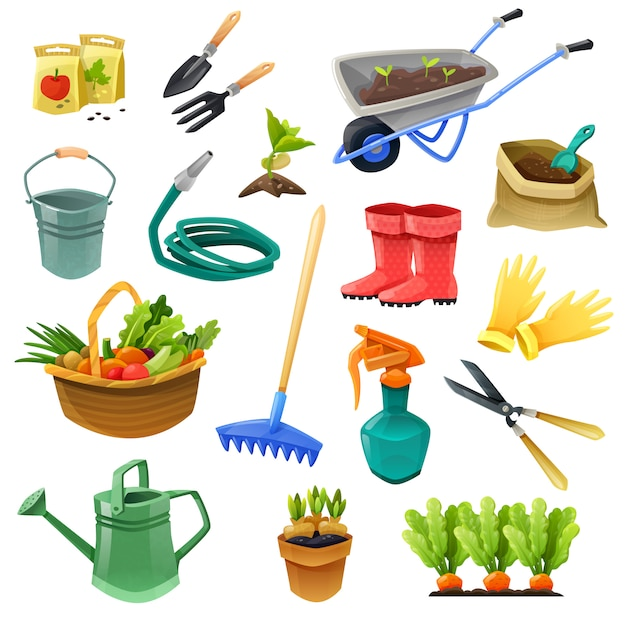 Gardening decorative color icons Free Vector