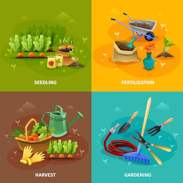 Gardening element design concept Premium Vector