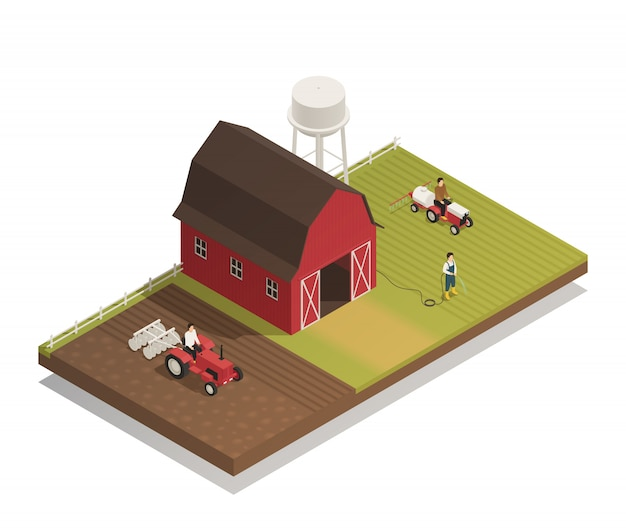 Gardening farm machinery isometric composition Free Vector