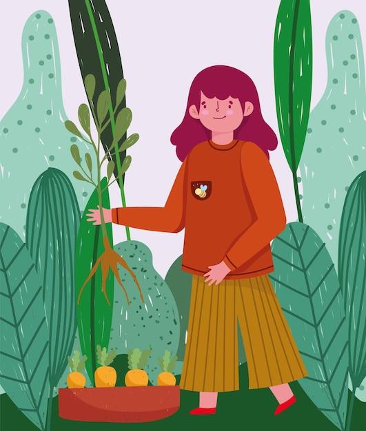 Садоводство, девушка с плантацией моркови и иллюстрация листвы природы Premium векторы