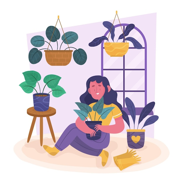 Gardening at home concept Free Vector