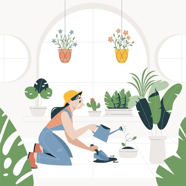 Giardinaggio a casa Vettore gratuito