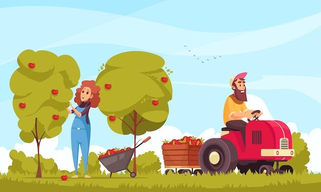 Caratteri umani di giardinaggio con il trattore durante la raccolta delle mele sul fumetto del fondo del cielo blu Vettore gratuito