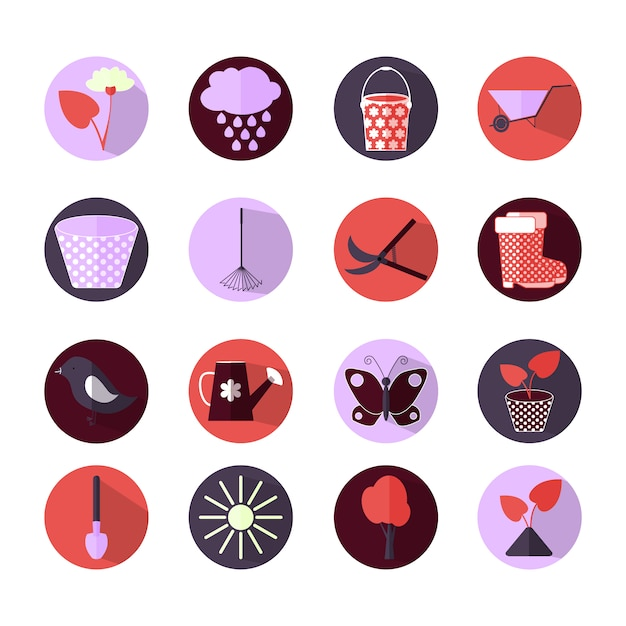 Gardening icons collection Free Vector