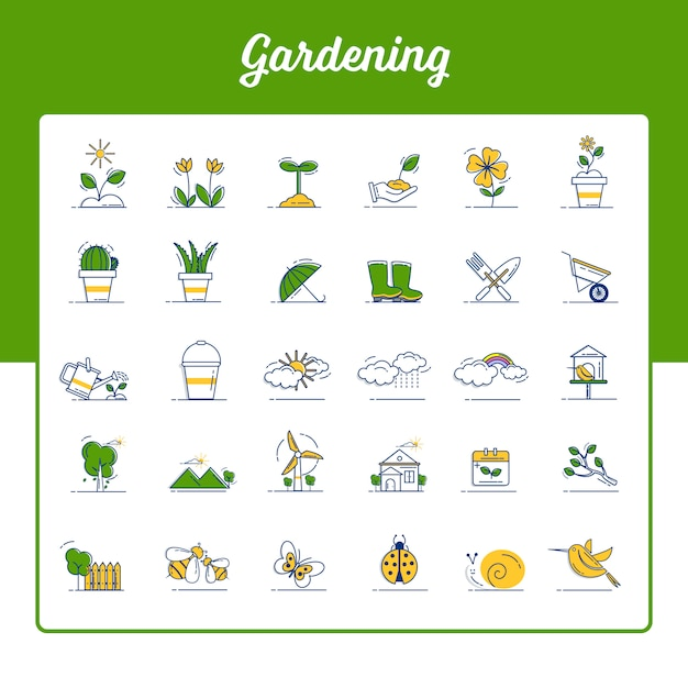 Gardening icons set with outline filled style Premium Vector