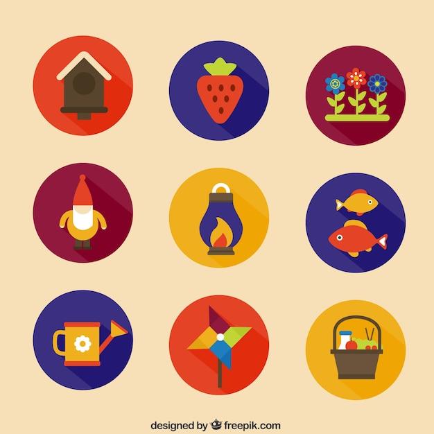 Gardening icons Free Vector