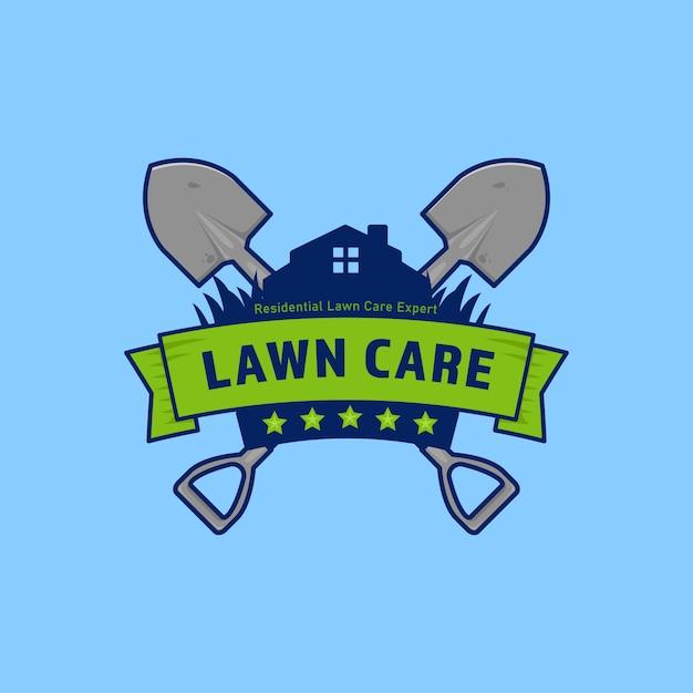 Значок логотипа компании по уходу за садовыми газонами с щитом и лопатой Premium векторы