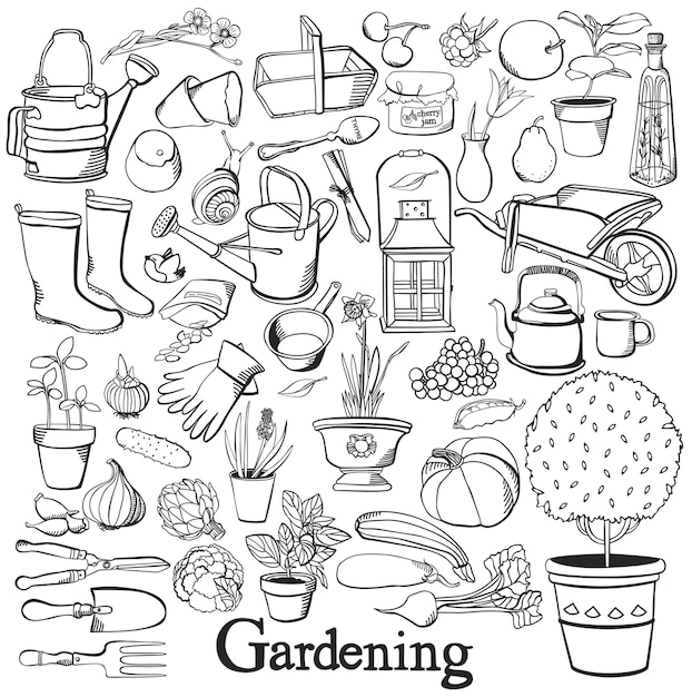 Gardening line icon drawing doodle set Free Vector