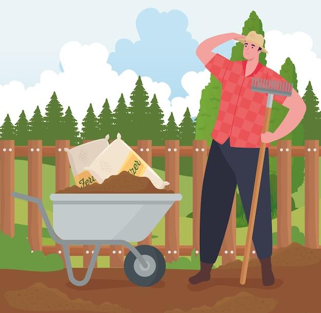 Gardening Cartoon Clipart Image - Black and White Clip Art Of A Man Pushing  A Wheelbarrow Full Of Yard Tools