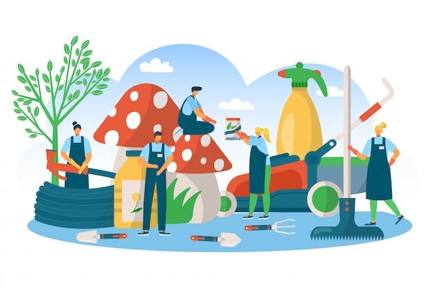 園芸自然植物ツールコンセプト、イラスト。緑の夏の庭の葉、農業、機器のコンセプトで水をまきます。男性女性の人々の性格は有機農場の趣味があります。 Premiumベクター