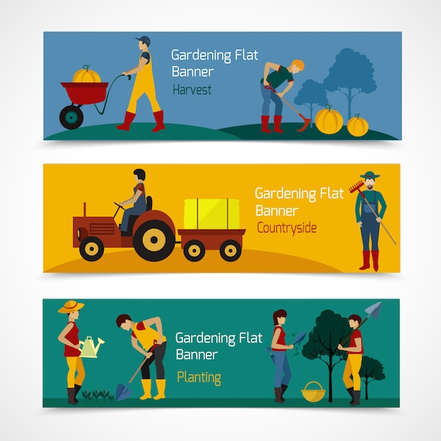 Gardening people flat banners Free Vector