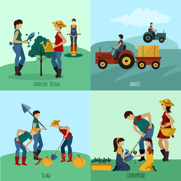 Gardening people flat set Free Vector