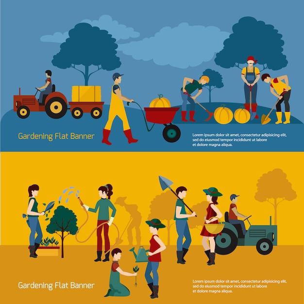 Gardening people flat set Free Vector