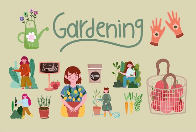 ガーデニング、人々の庭の自然植物ニンジン手袋ツールイラスト Premiumベクター