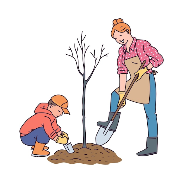Premium Vector Gardening And Plants Growing With Children Concept With Woman And Child Cartoon Characters Planting Tree Alibaba.com offers 3,181 cartoon tree products. https www freepik com profile preagreement getstarted 10947282