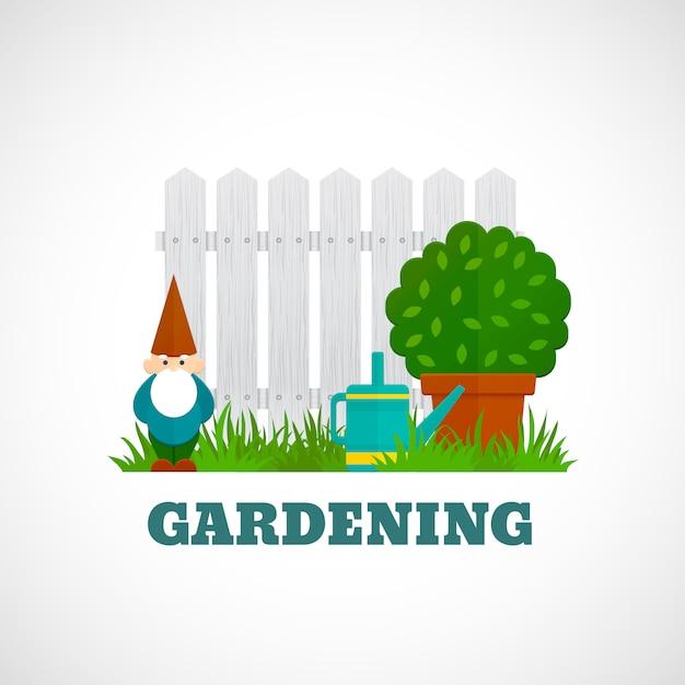 Gardening poster flat Free Vector