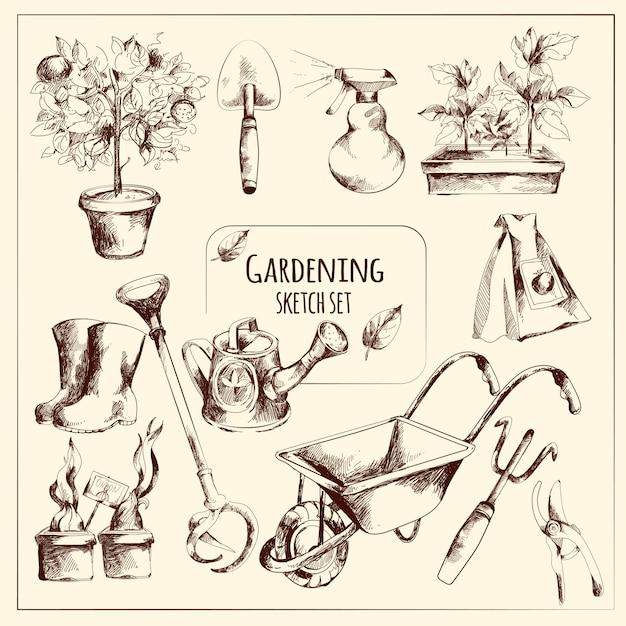 Gardening sketch set Free Vector