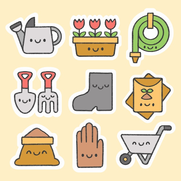 Gardening sticker hand drawn cartoon collection Premium Vector
