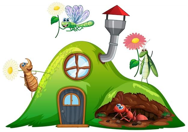 家に虫がいる園芸テーマ 無料ベクター