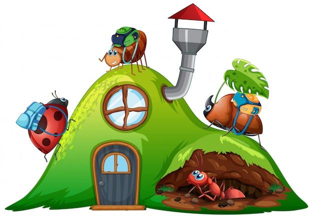 Садовая тема с насекомыми в их доме Бесплатные векторы