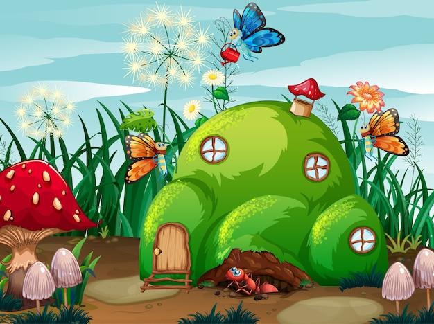 Tema di giardinaggio con insetti nella loro casa Vettore gratuito