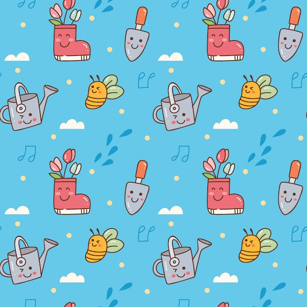 Gardening themed in kawaii style seamless background Premium Vector