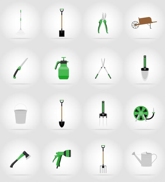 Садовые инструменты плоские иконки. Premium векторы