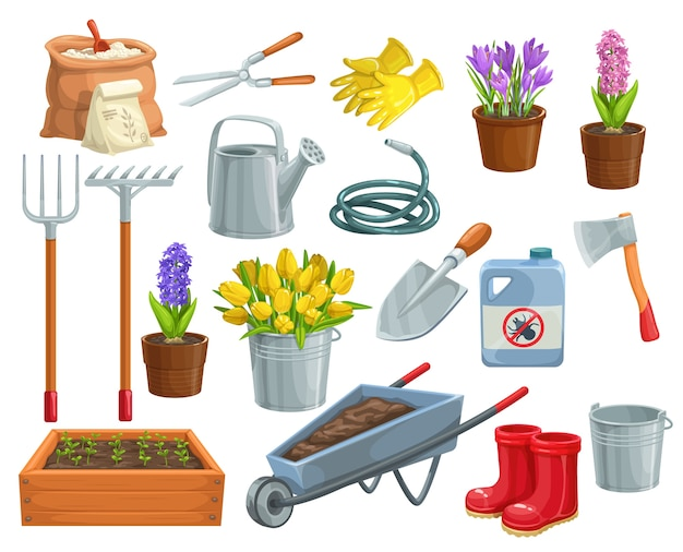 Gardening tools and flowers icons. rubber boots, seedling, tulips, gardening can and cutter. Premium Vector