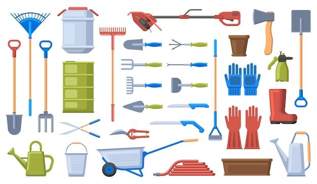 원예 도구. 정원 작업 장비, 삽, 갈퀴, 수레, 장갑 및 가지 치기. 농업 원예 작업 도구 세트. 프리미엄 벡터