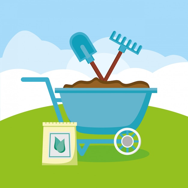 Gardening tools in the garden Free Vector
