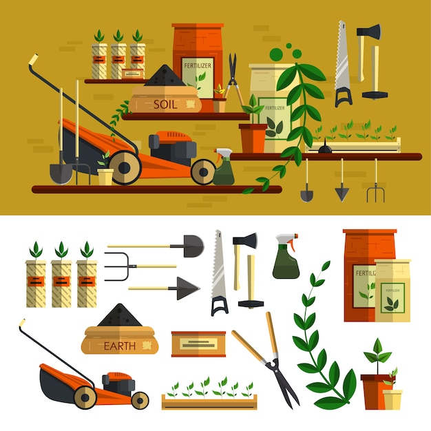 Gardening tools illustration. vector elements set in flat style design. work in garden concept. lawn mower, soil, tools, flowers, materials for planting. Premium Vector