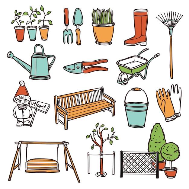 Gardening tools set Free Vector