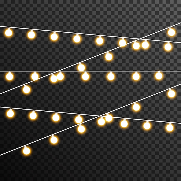 Garland light bulb decoration transparent Premium Vector