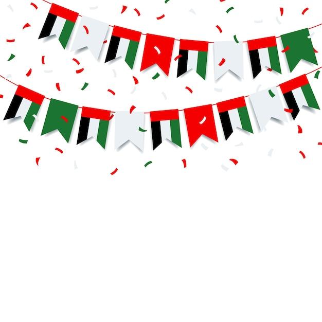 Гирлянда с флагом объединенных арабских эмиратов Premium векторы