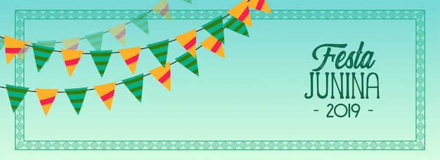 Garlands decoration festa junina 2019 banner Free Vector