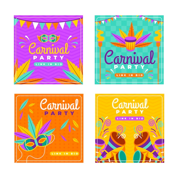 Garlands and masks carnival instagram post collection Free Vector