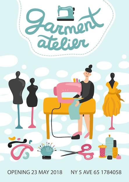 Manifesto pubblicitario dell'atelier di abbigliamento con indirizzo, numero di telefono e data di apertura Vettore gratuito