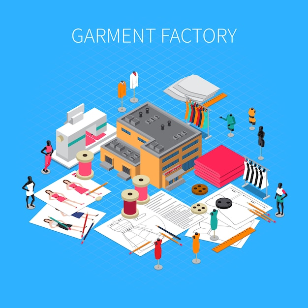 Garment factory isometric illustration with patterns and samples symbols Free Vector