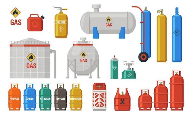 Коллекция иконок для хранения газа и топлива Бесплатные векторы