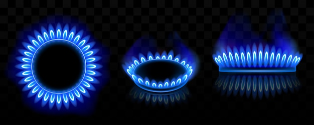 Gas burner with blue flame, glowing fire ring Free Vector
