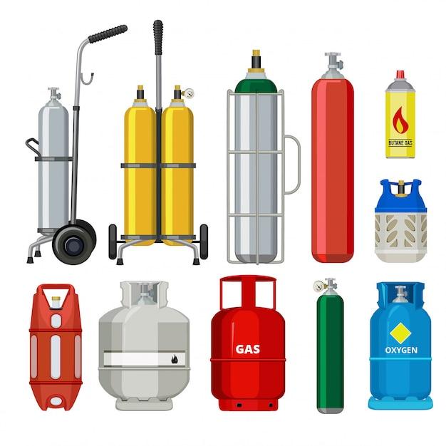 Gas cylinders. butane helium acetylene propane metal tank cylinder petroleum station tools  illustrations Premium Vector