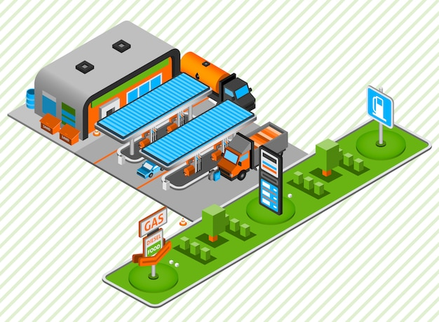 Gas diesel fuel station isometric composition Free Vector