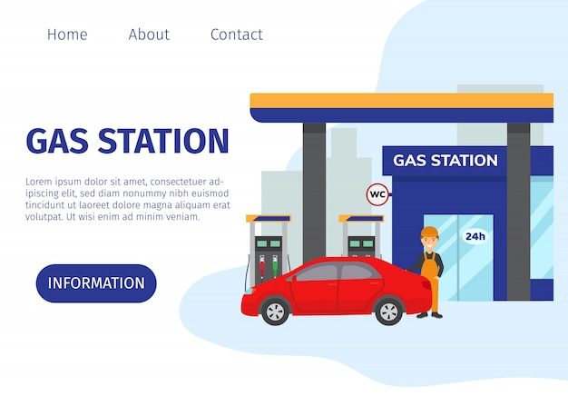 Gas filling station vector web site template. transport fuel and benzine related service building, red car and cartoon worker illustration. gasoline, petrol and gas station with shop. Premium Vector