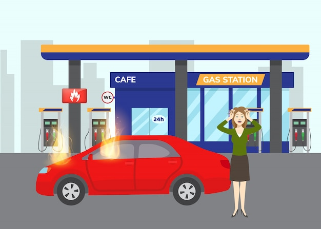 Gas inflaming car on gas filling station with fuel symbol and scared girl flat vector illustration. flames on car refilling fuel or benzine. inflamed red auto. Premium Vector