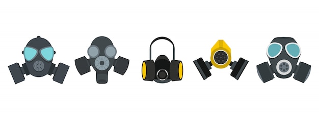Gas mask icon set. flat set of gas mask vector icons collection isolated Premium Vector