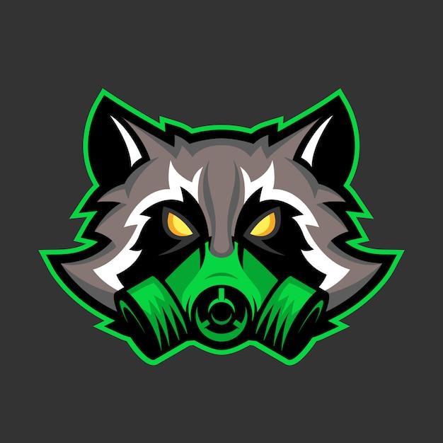Gas mask raccoon mascot Premium Vector