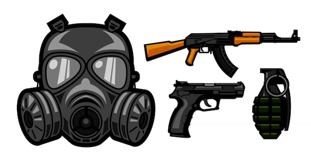 Gas mask and weapons design for military Premium Vector