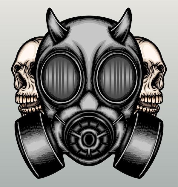 두개골과 가스 마스크. 프리미엄 벡터