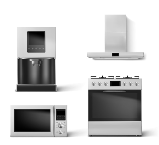 Gas oven, hood, microwave and coffee machine set Free Vector
