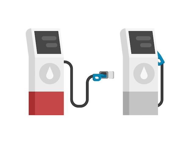 Газовая азс современная изолированная плоская иллюстрация шаржа Premium векторы
